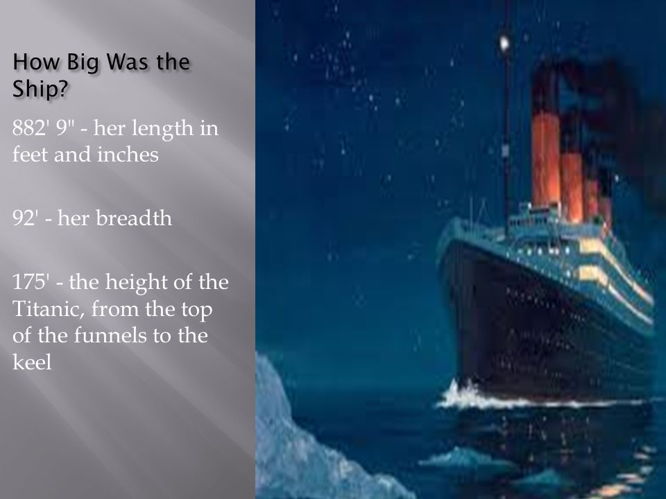 How Big Was the Ship 882 9 - her length in feet and inches. 92 - her breadth.