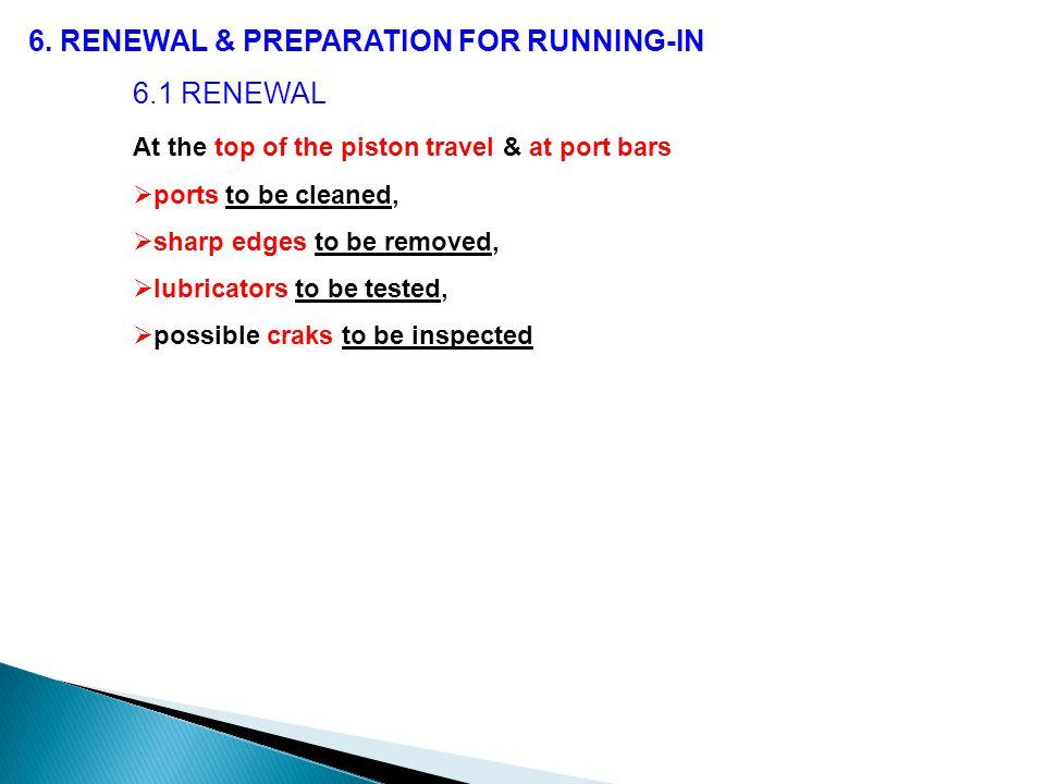6. RENEWAL & PREPARATION FOR RUNNING-IN 6.1 RENEWAL