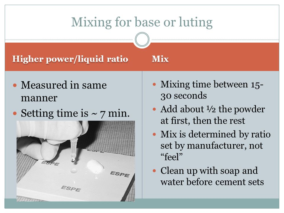Mixing for base or luting