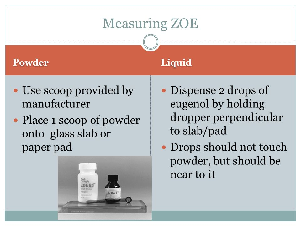 Measuring ZOE Use scoop provided by manufacturer