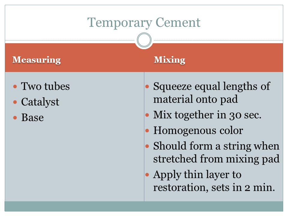 Temporary Cement Two tubes Catalyst Base
