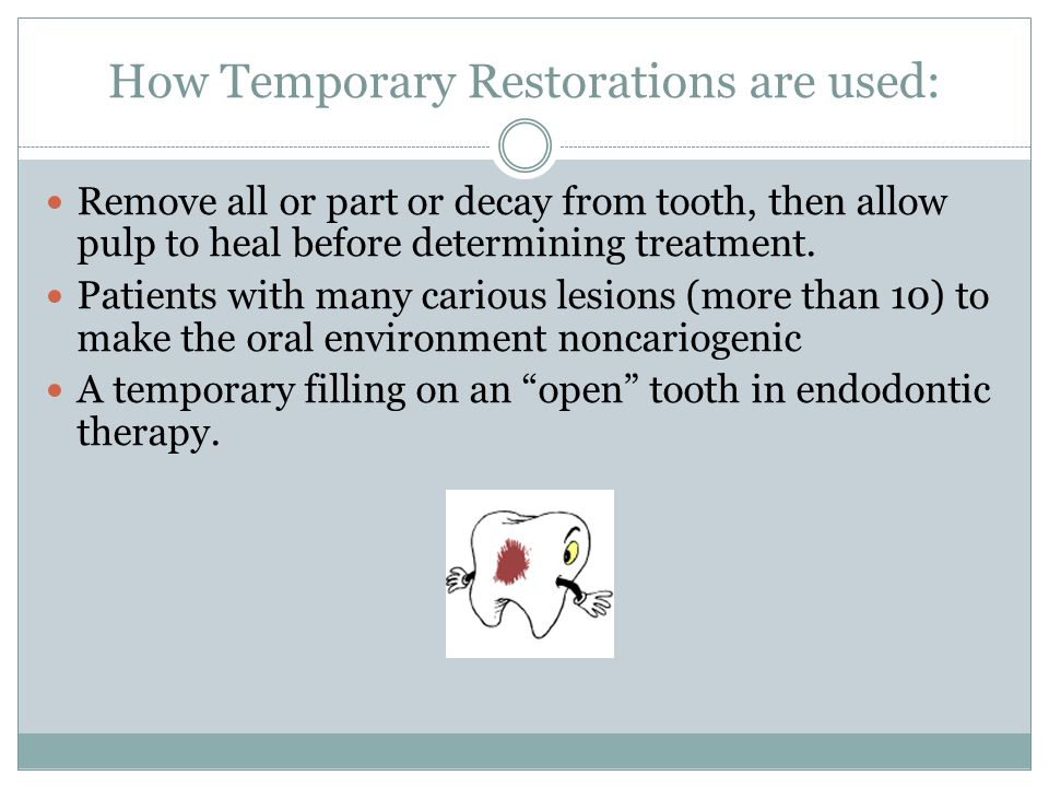 How Temporary Restorations are used: