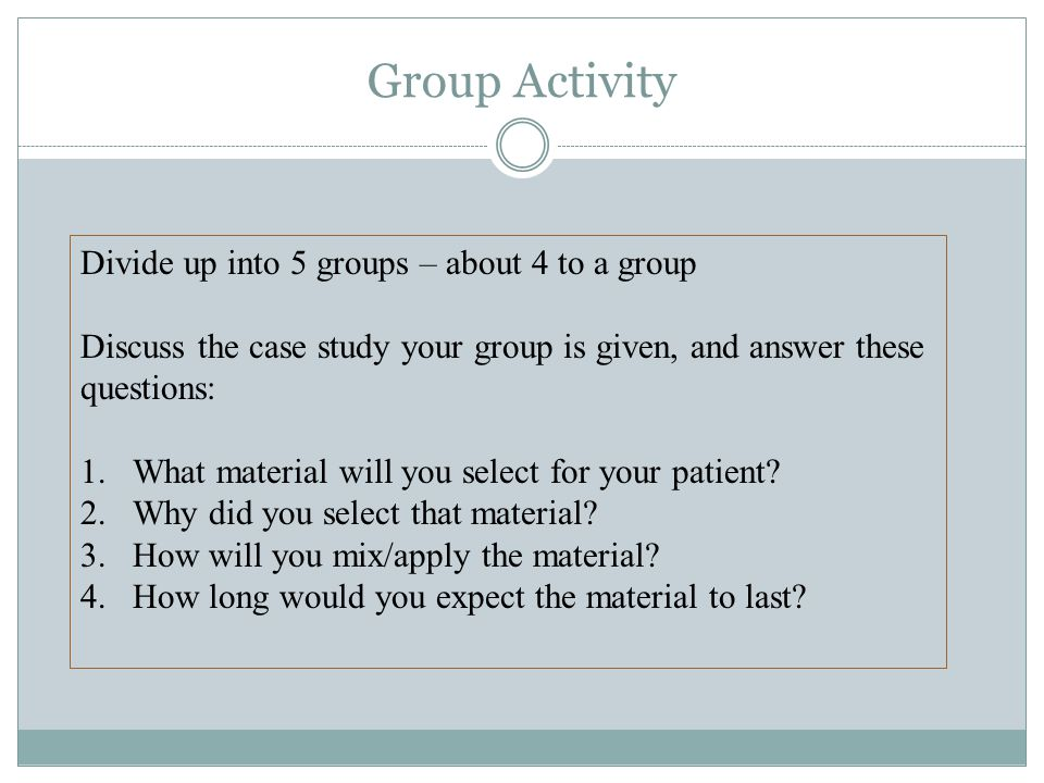 Group Activity Divide up into 5 groups – about 4 to a group