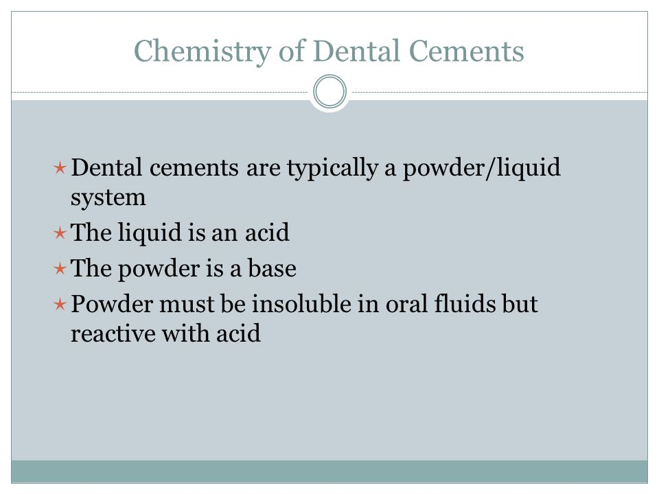 Chemistry of Dental Cements