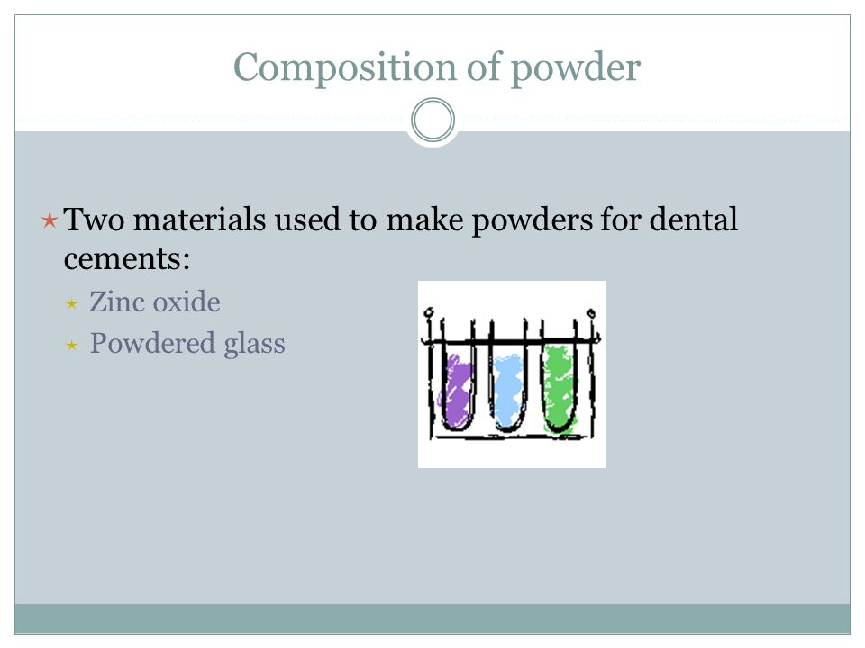 Composition of powder Two materials used to make powders for dental cements: Zinc oxide.