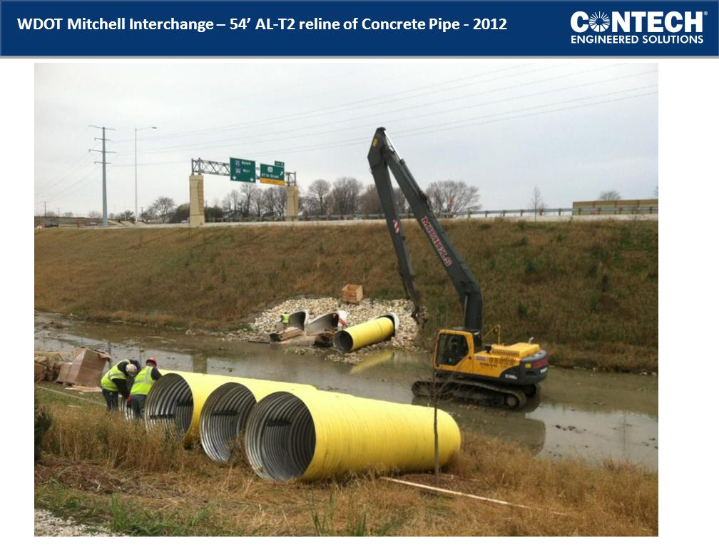 WDOT Mitchell Interchange – 54' AL-T2 reline of Concrete Pipe - 2012