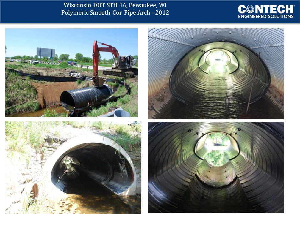 Wisconsin DOT STH 16, Pewaukee, WI Polymeric Smooth-Cor Pipe Arch - 2012