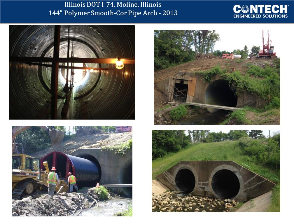 Illinois DOT I-74, Moline, Illinois 144 Polymer Smooth-Cor Pipe Arch - 2013