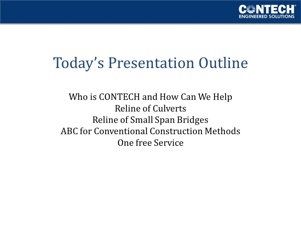 Today's Presentation Outline