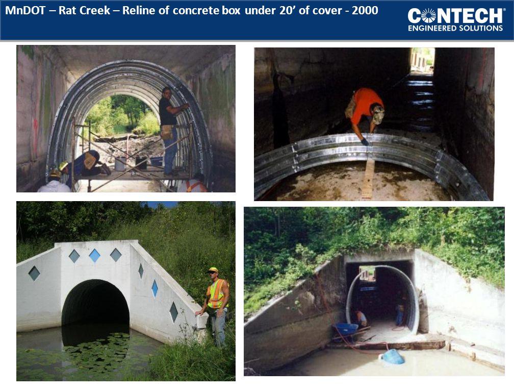 MnDOT – Rat Creek – Reline of concrete box under 20' of cover - 2000