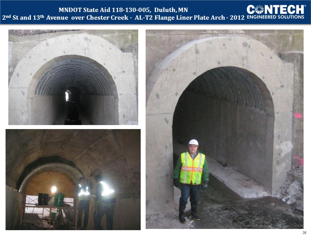 MNDOT State Aid 118-130-005, Duluth, MN 2nd St and 13th Avenue over Chester Creek - AL-T2 Flange Liner Plate Arch - 2012