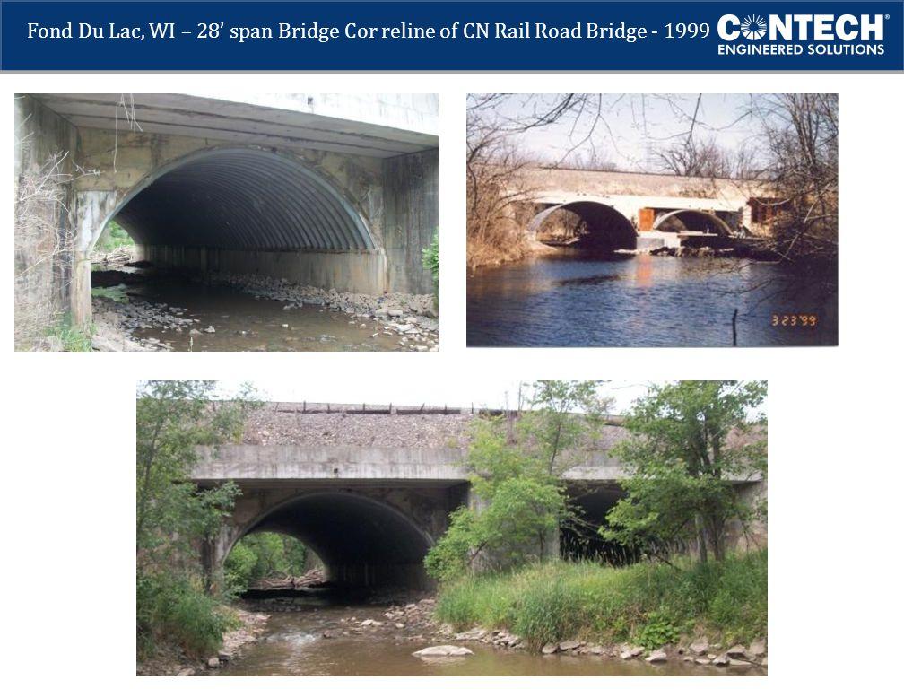 Fond Du Lac, WI – 28' span Bridge Cor reline of CN Rail Road Bridge - 1999