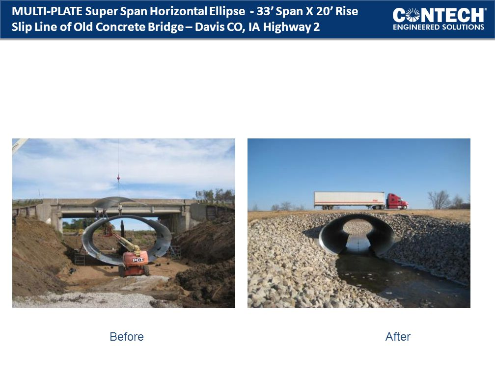 MULTI-PLATE Super Span Horizontal Ellipse - 33' Span X 20' Rise Slip Line of Old Concrete Bridge – Davis CO, IA Highway 2