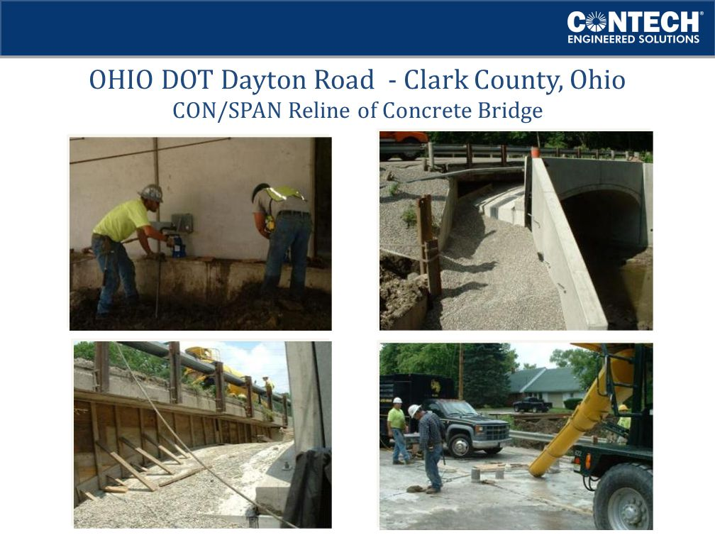 OHIO DOT Dayton Road - Clark County, Ohio CON/SPAN Reline of Concrete Bridge