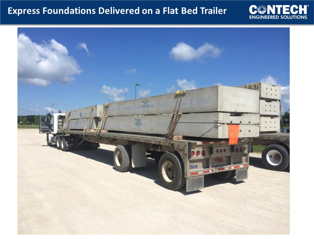 Express Foundations Delivered on a Flat Bed Trailer
