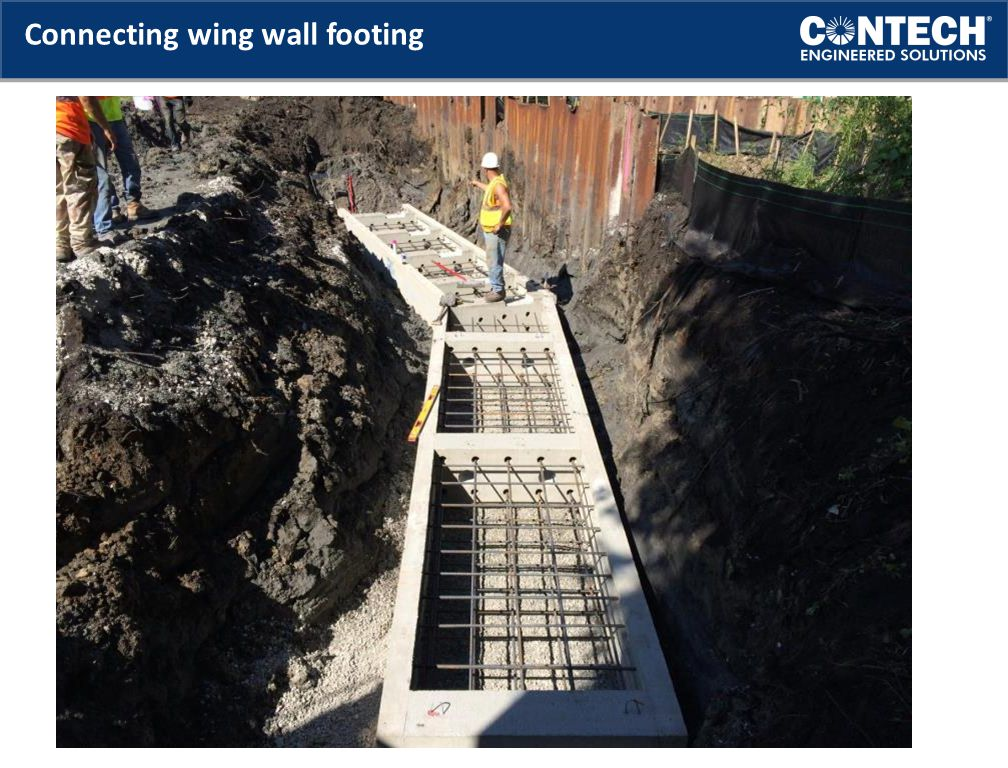 Connecting wing wall footing