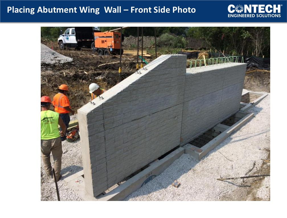 Placing Abutment Wing Wall – Front Side Photo
