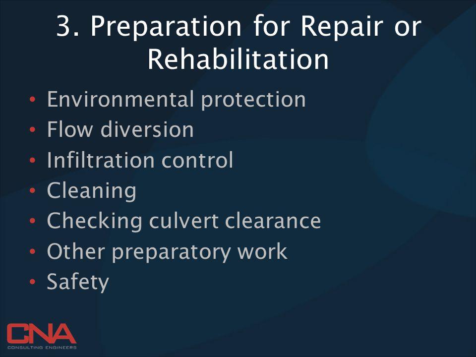 3. Preparation for Repair or Rehabilitation
