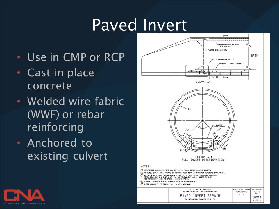 Paved Invert Use in CMP or RCP Cast-in-place concrete