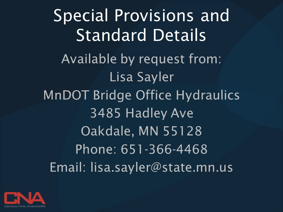 Special Provisions and Standard Details
