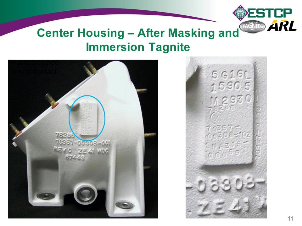Center Housing – After Masking and Immersion Tagnite