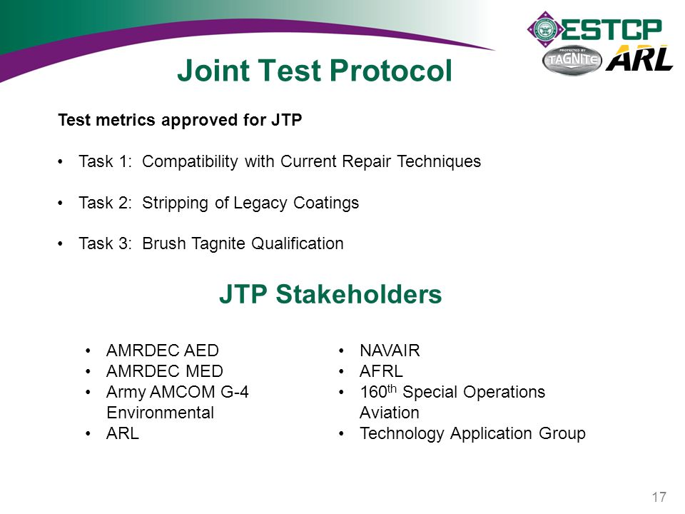 Joint Test Protocol JTP Stakeholders Test metrics approved for JTP