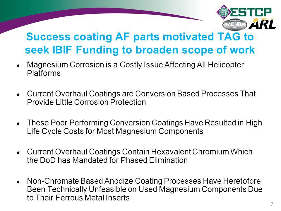 Success coating AF parts motivated TAG to seek IBIF Funding to broaden scope of work