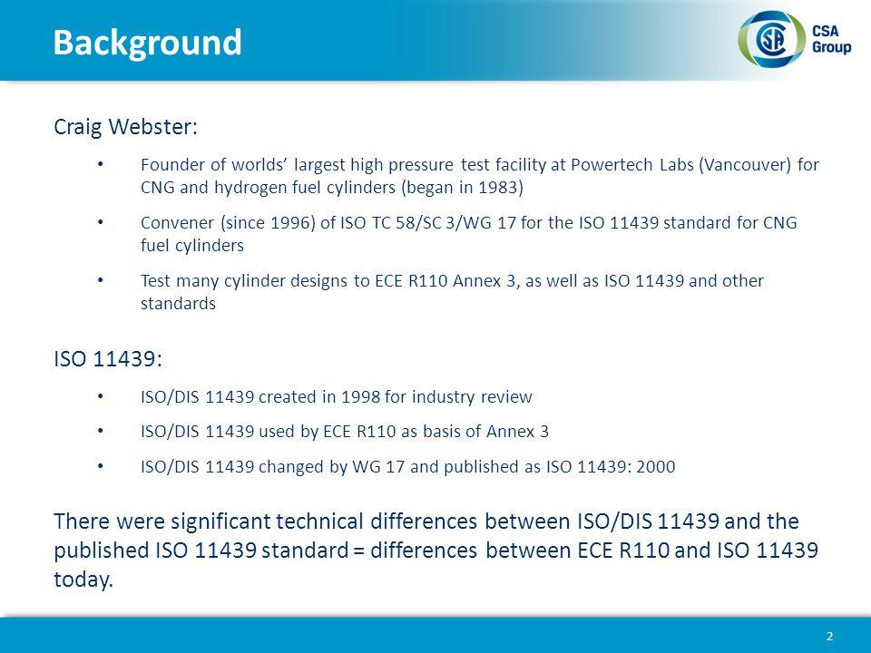 Background Craig Webster: ISO 11439: