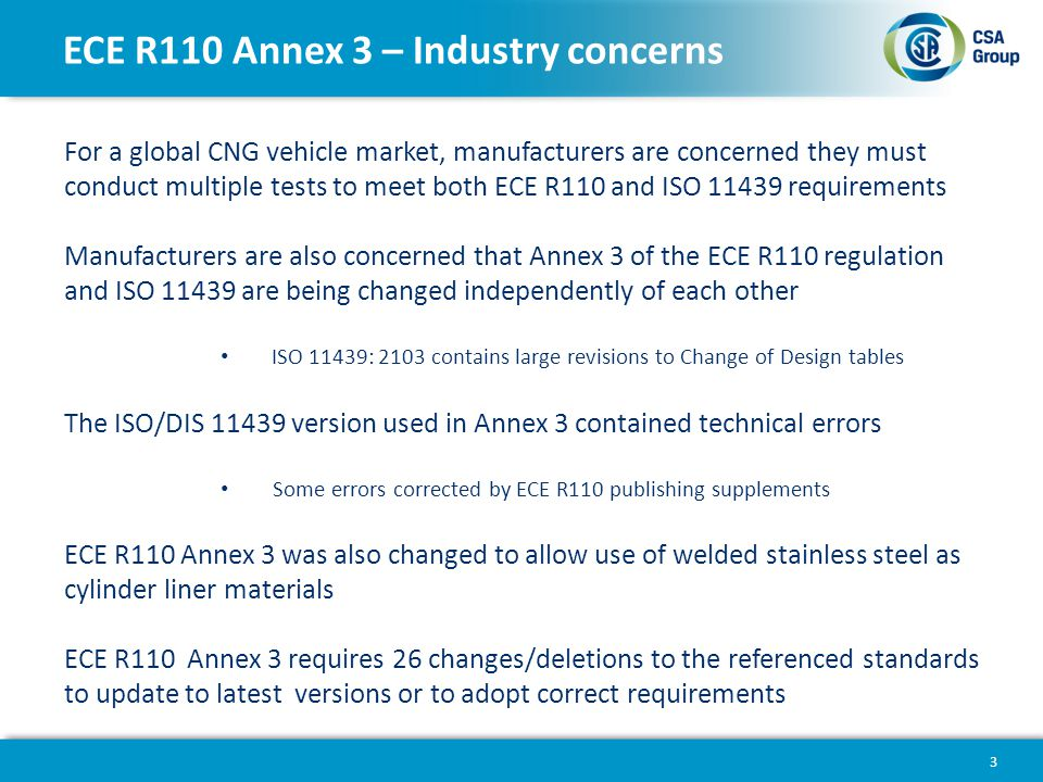 ECE R110 Annex 3 – Industry concerns