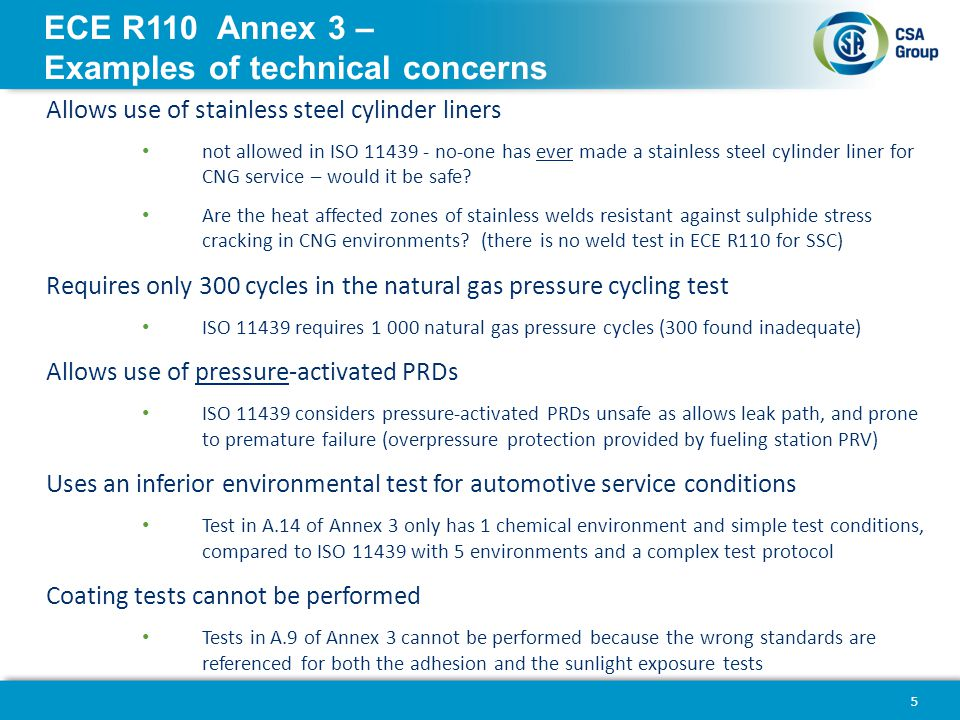 ECE R110 Annex 3 – Examples of technical concerns