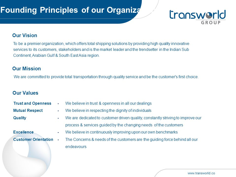 Founding Principles of our Organization