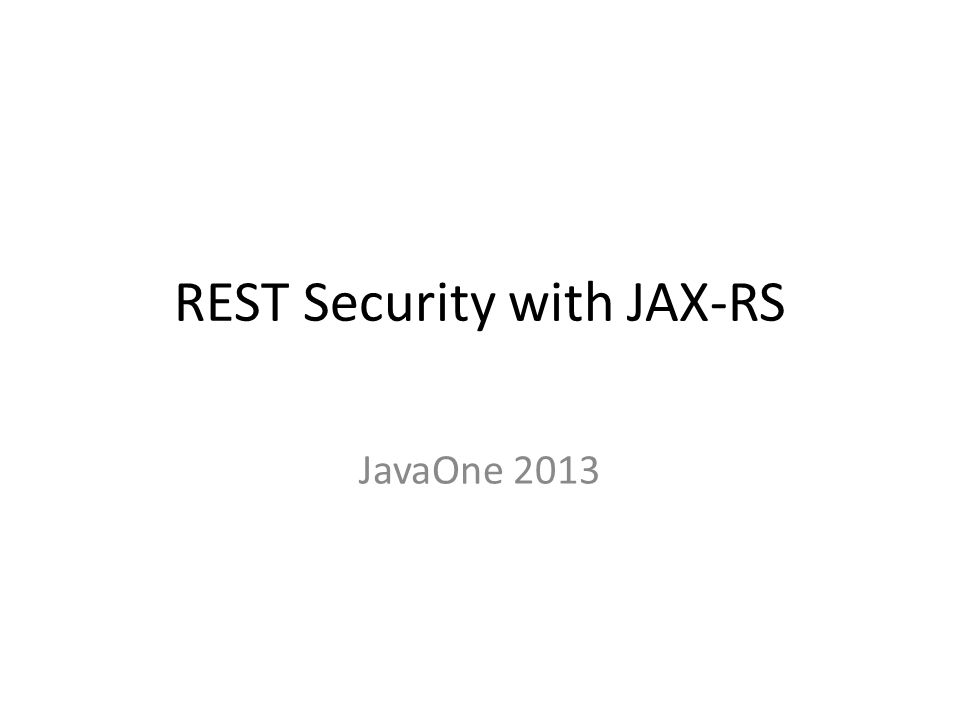 REST Security with JAX-RS