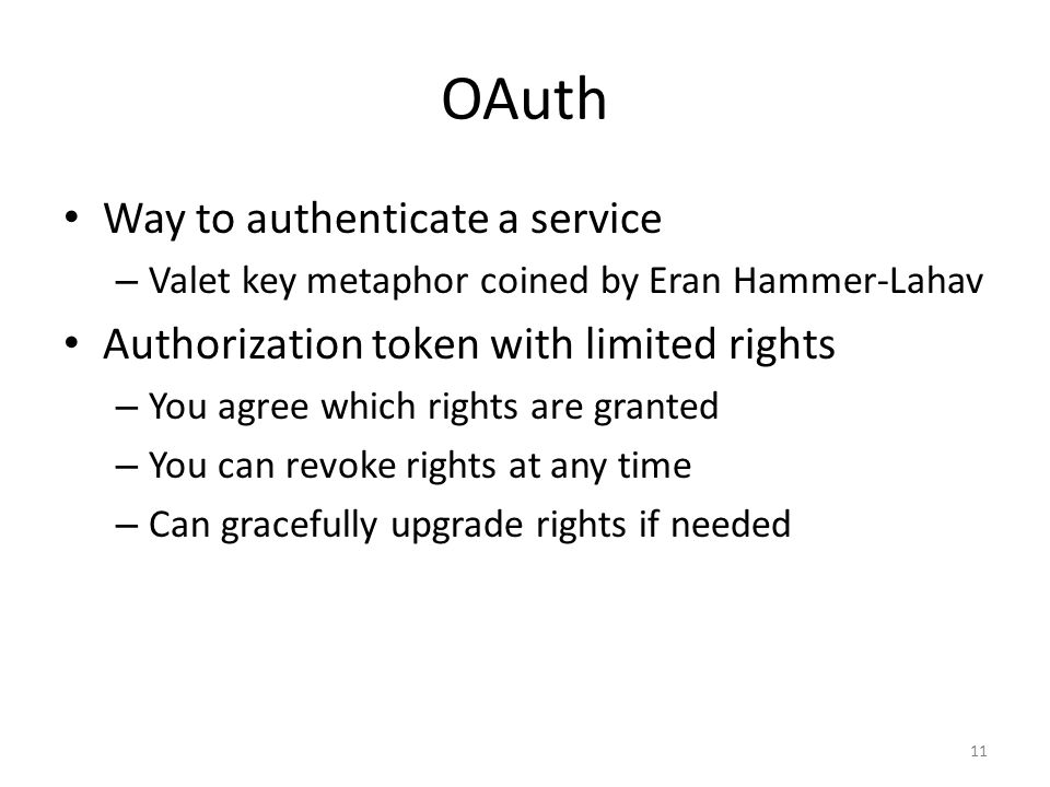 OAuth Way to authenticate a service