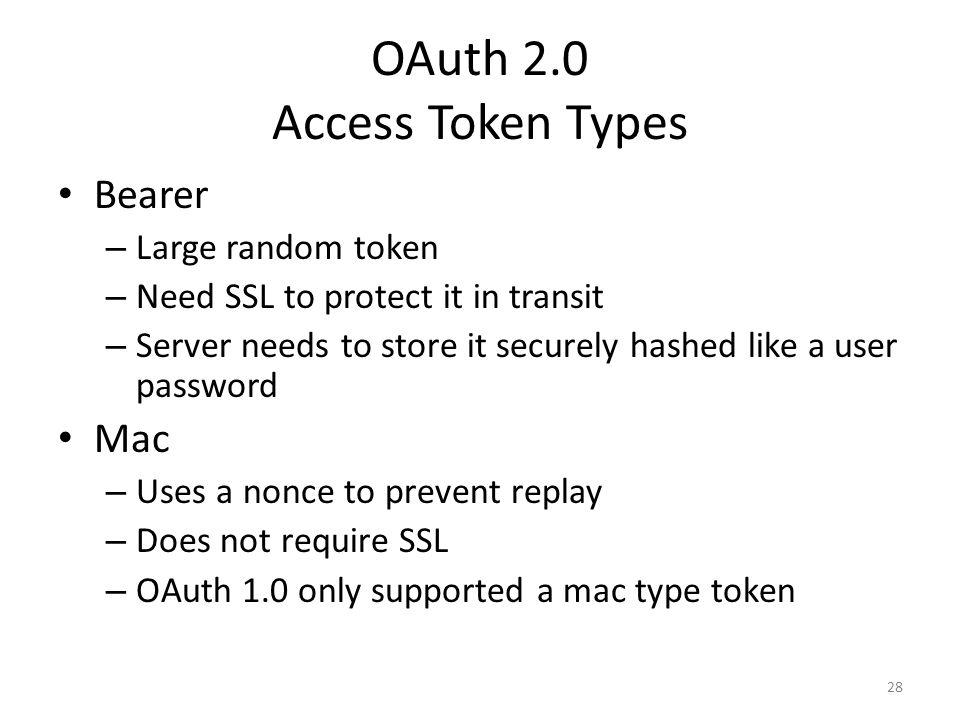 OAuth 2.0 Access Token Types
