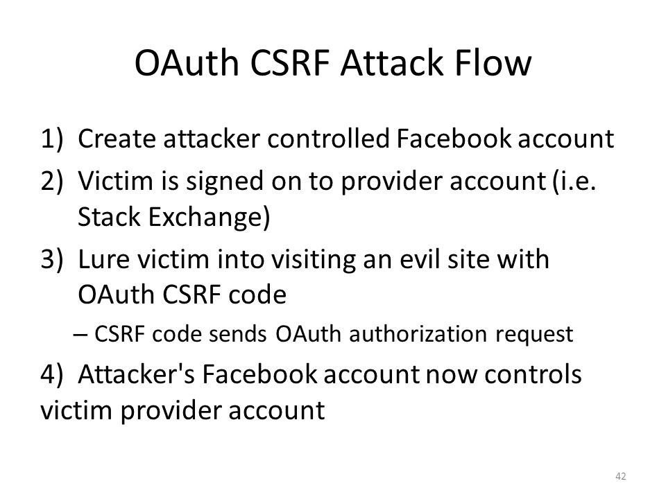 OAuth CSRF Attack Flow Create attacker controlled Facebook account