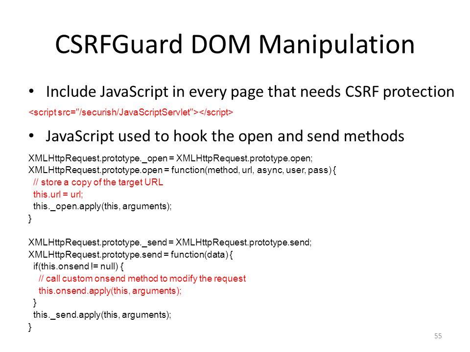 CSRFGuard DOM Manipulation