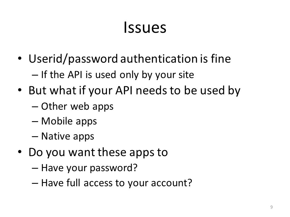 Issues Userid/password authentication is fine