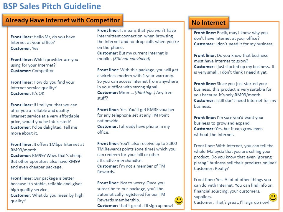BSP Sales Pitch Guideline