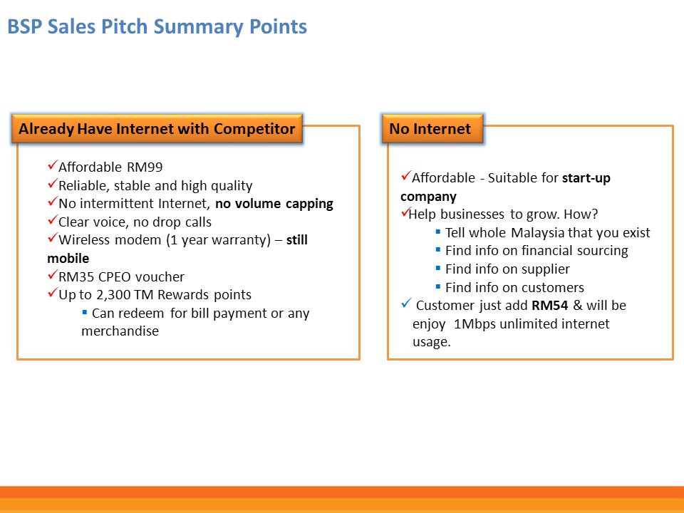 BSP Sales Pitch Summary Points