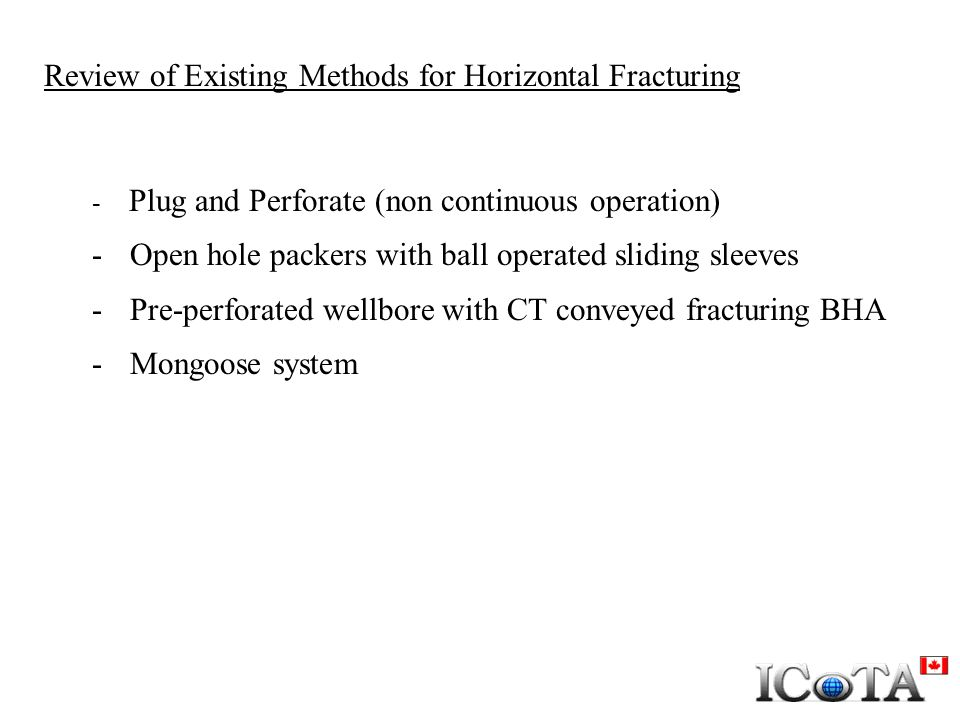 Review of Existing Methods for Horizontal Fracturing