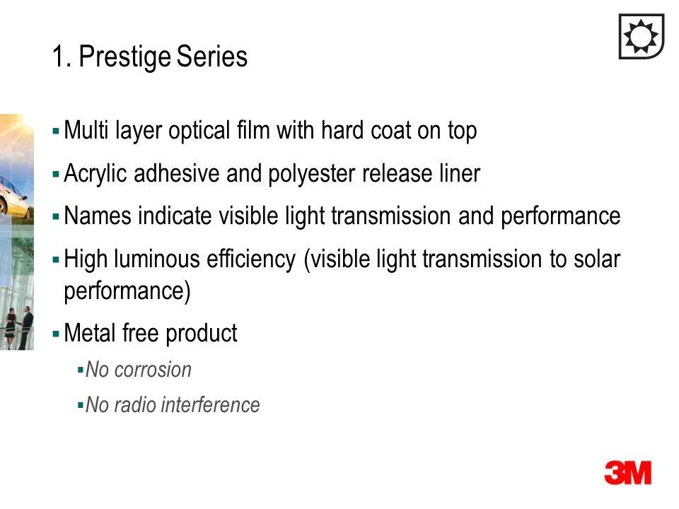 1. Prestige Series Multi layer optical film with hard coat on top