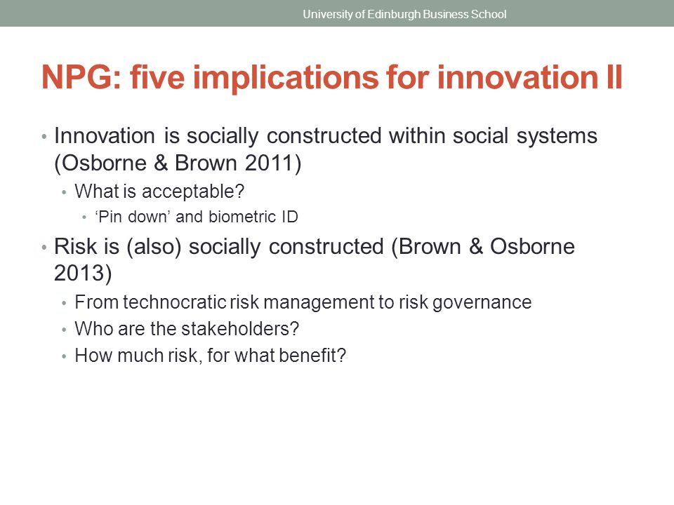 NPG: five implications for innovation II