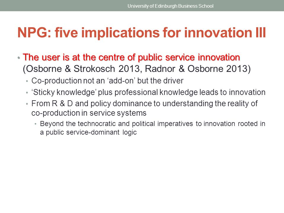 NPG: five implications for innovation III