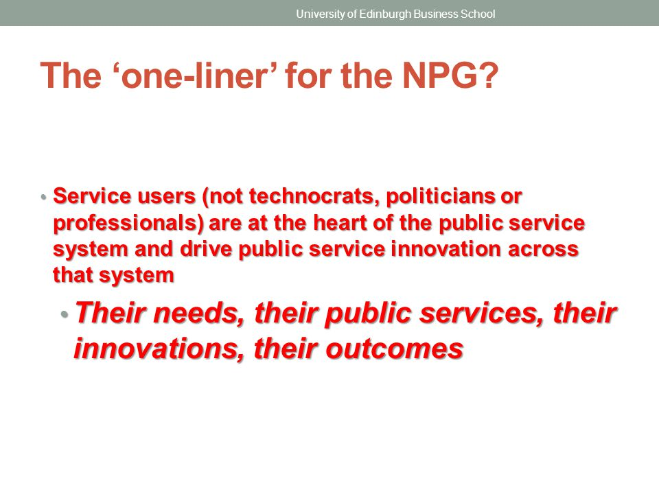 The 'one-liner' for the NPG