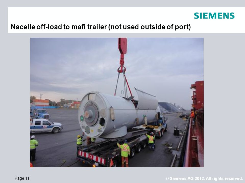Nacelle off-load to mafi trailer (not used outside of port)
