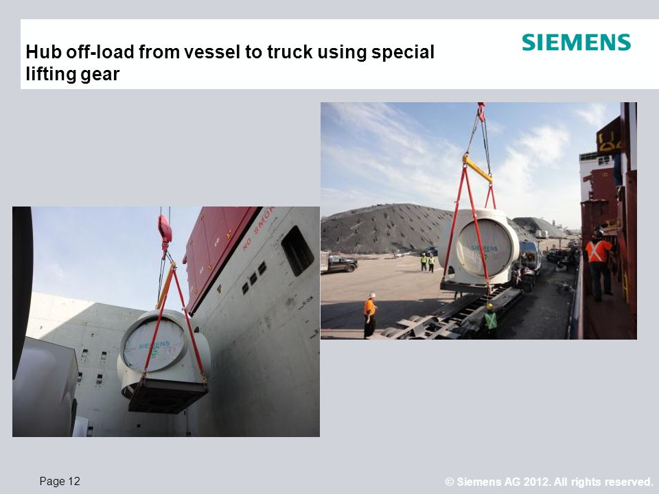 Hub off-load from vessel to truck using special lifting gear