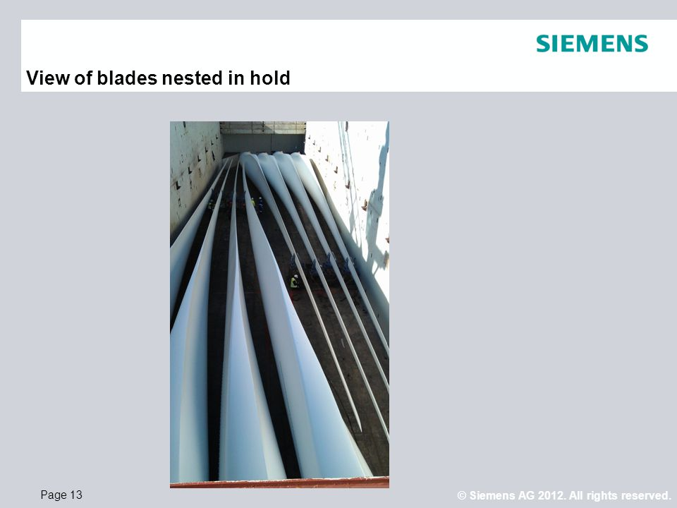 View of blades nested in hold