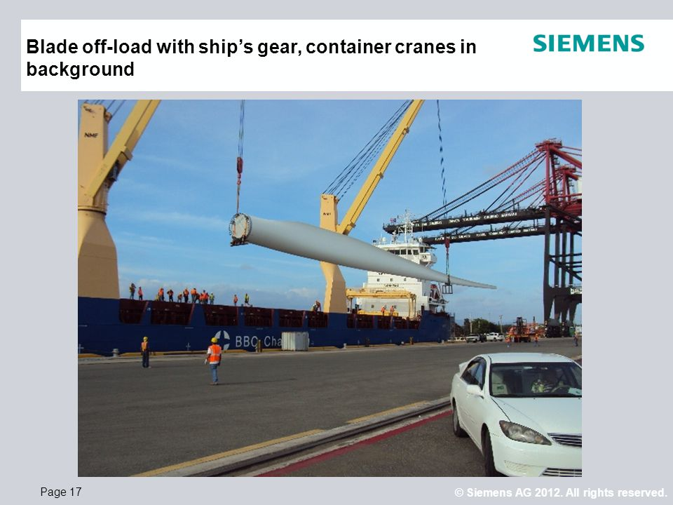 Blade off-load with ship's gear, container cranes in background