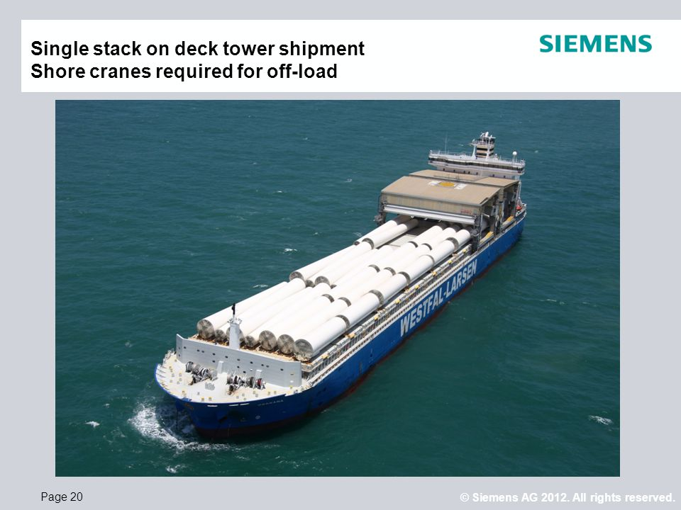 Single stack on deck tower shipment Shore cranes required for off-load
