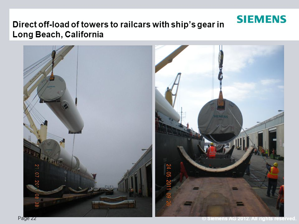 Direct off-load of towers to railcars with ship's gear in Long Beach, California